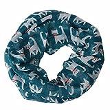 Ikevan Hot Selling Newest Women Girls Owl/Cats Pattern Retro Voile Warm Scarf Collar Scarves Neckerchief Winter 170x 50cm (Blue)