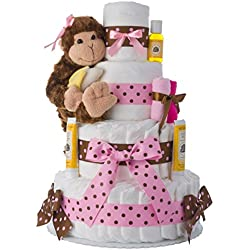 Diaper Cake - Pink Monkey Theme Handmade By Lil Baby Cakes - Gift For Baby Girl - Makes a Great Baby Shower Centerpiece