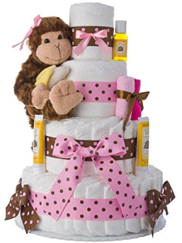 Diaper Cake – Pink Monkey Theme Handmade By Lil Baby Cakes – Gift For Baby Girl – Makes a Great Baby Shower Centerpiece
