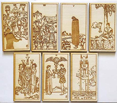 LumEngrave Wood Engraved Tarot Card Deck Rider Waite Collectible 78 Wooden Card Set Major & Minor Arcana Tarot Cards Occult Gift Astrology Gift (Major Arcana (22)) by LumEngrave (Image #3)