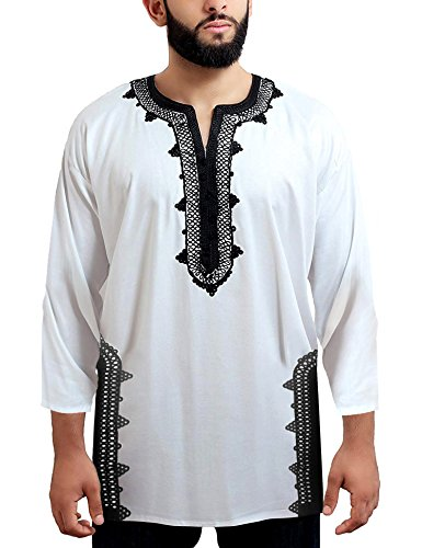 Daupanzees Men Tunic Caftan Shirt Breathable Fiber Cotton Handmade Tribal Long Sleeve Unisex Moroccan Embroidery T-Shirt Morocco Ethnic Tops Tee (White M) by Daupanzees (Image #2)