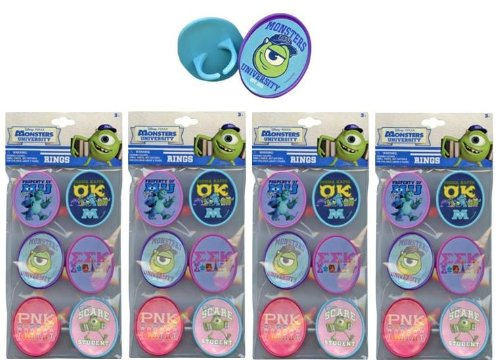 Monsters University 24 pk Cupcake Topper Rings with Sticker on Plastic Insert