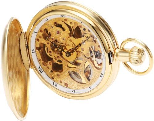 Catorex Men's 180.6.1625.000 Les Breuleux 18k Gold Plated Brass Skeletal Dial Pocket Watch