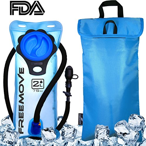 2L Hydration Pack Water Bladder & Cooler Bag | KEEPS DRINK COOL & PROTECTS YOUR BLADDER | Durable Leak Proof Water Reservoir | Large Oppening | Tasteless BPA Free | Quick Release Tube & Shutoff Valve by FREEMOVE