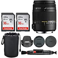 Sigma 18-250mm F3.5-6.3 DC Macro OS HSM for Canon EF Mount + 32GB Memory Card + Lens Pouch + Lens Cleaning Pen - Top Value Basic DSLR Lens Accessory Kit!