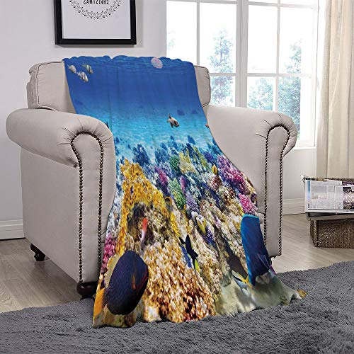 YOLIYANA Light Weight Fleece Throw Blanket/Ocean Decor,Underwater Sea World Scene with Goldfish Starfish Jellyfish Depth Diving Concept,Turquoise/for Couch Bed Sofa for Adults Teen Girls Boys