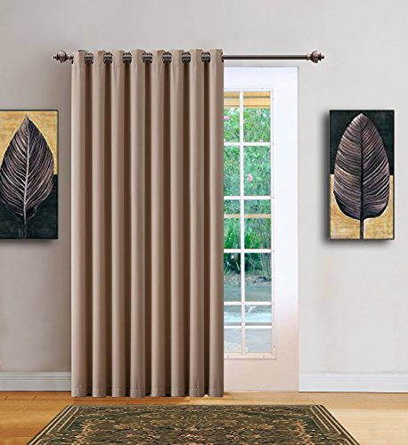 Warm Home Designs 1 Panel of Taupe Blackout Patio Door Curtains. Each Extra Wide Insulated Thermal Sliding Door or Room Divider Curtain is 102