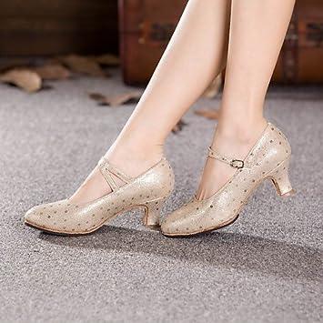 91e5eb04 T.T-Q Zapatos de Baile de Mujer de Cuero Moderno tacón Cubano de Plata:  Amazon.es: Deportes y aire libre