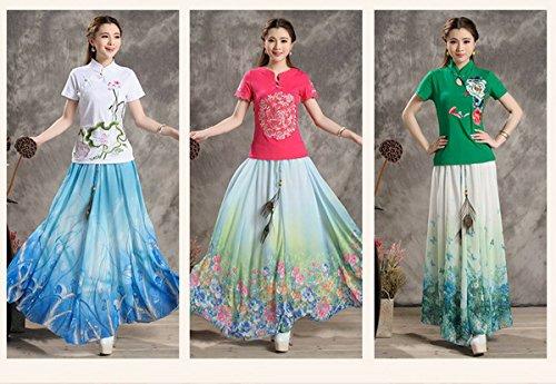 Bohême Imprimee Style Ceinture Color8 De Ahatech Ete Femme Soie Mousseline Floral En Longue Jupe Élastique vv76OIHW