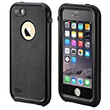 Waterproof iPhone 5S Case, eFond Waterproof iPhone SE Case IP68 Certified Shockproof Durable Slim Fit Full-Sealed Hard Cover with Touch ID Snow Dust Dirty Proof Case for iPhone 5 5S SE [Black]