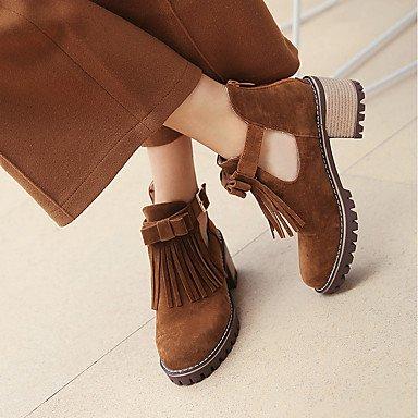 Hebilla el brown de Para Semicuero Borla Zapatos Botas Hasta redondo Mujer el Invierno Botas Botines Tobillo hasta Tobillo Dedo AIURBAG Botas s Moda nBqUa11x