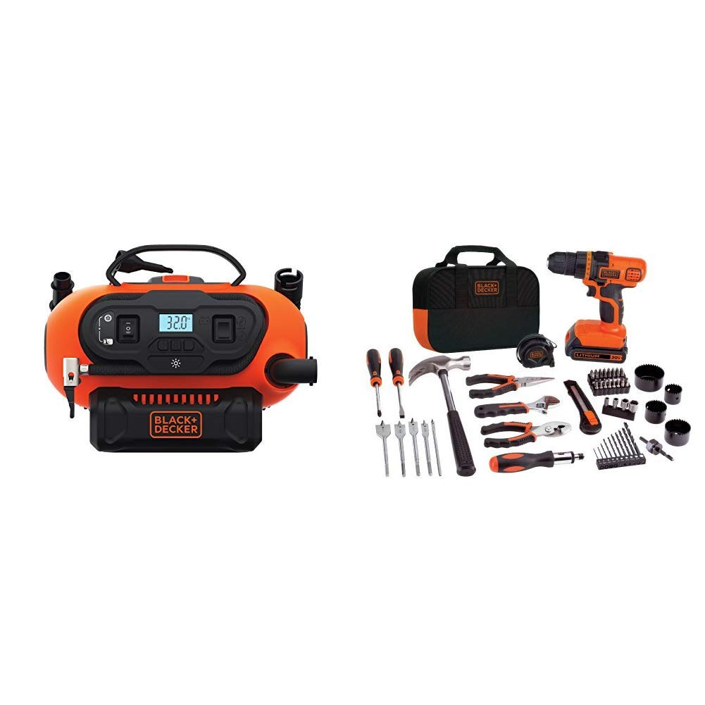 Tool Only with BLACK+DECKER LDX120PK 20V MAX Cordless Drill and Battery Power Project Kit BLACK+DECKER BDINF20C 20V Lithium Cordless Multi-Purpose Inflator