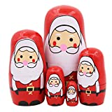 Set of 5 Cute Santa Claus with Pink Nose Nesting Dolls Handmade Wooden Matryoshka Crafts Russian Doll for Kids Toy Children Christmas Birthday Gift Home Decoration