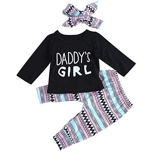 Colorfog 3pcs Newborn Kids Baby Girl Clothes T-Shirt Tops+Long Pants+Headband Outfits Set (0-6 Months) ()