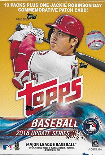 - 2018 Topps Update Series Baseball Unopened Blaster Box with 10 Packs and One EXCLUSIVE Jackie Robinson Day Commemorative Patch Card and Possible Rookies Autographs and Jersey Cards