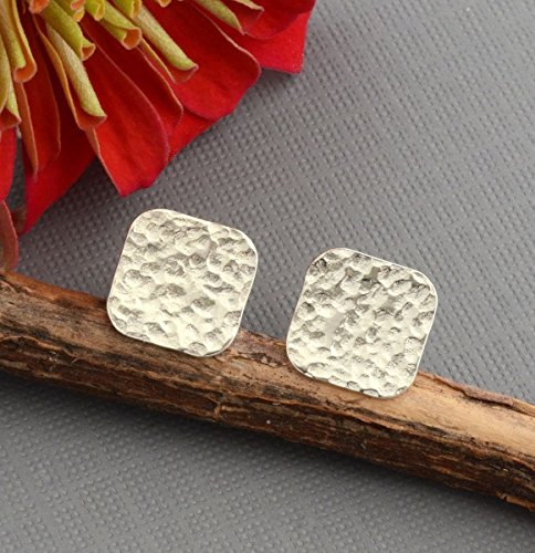 Flat Urban (Flat hammered sterling silver disc stud post earrings lightweight 10mm squares)