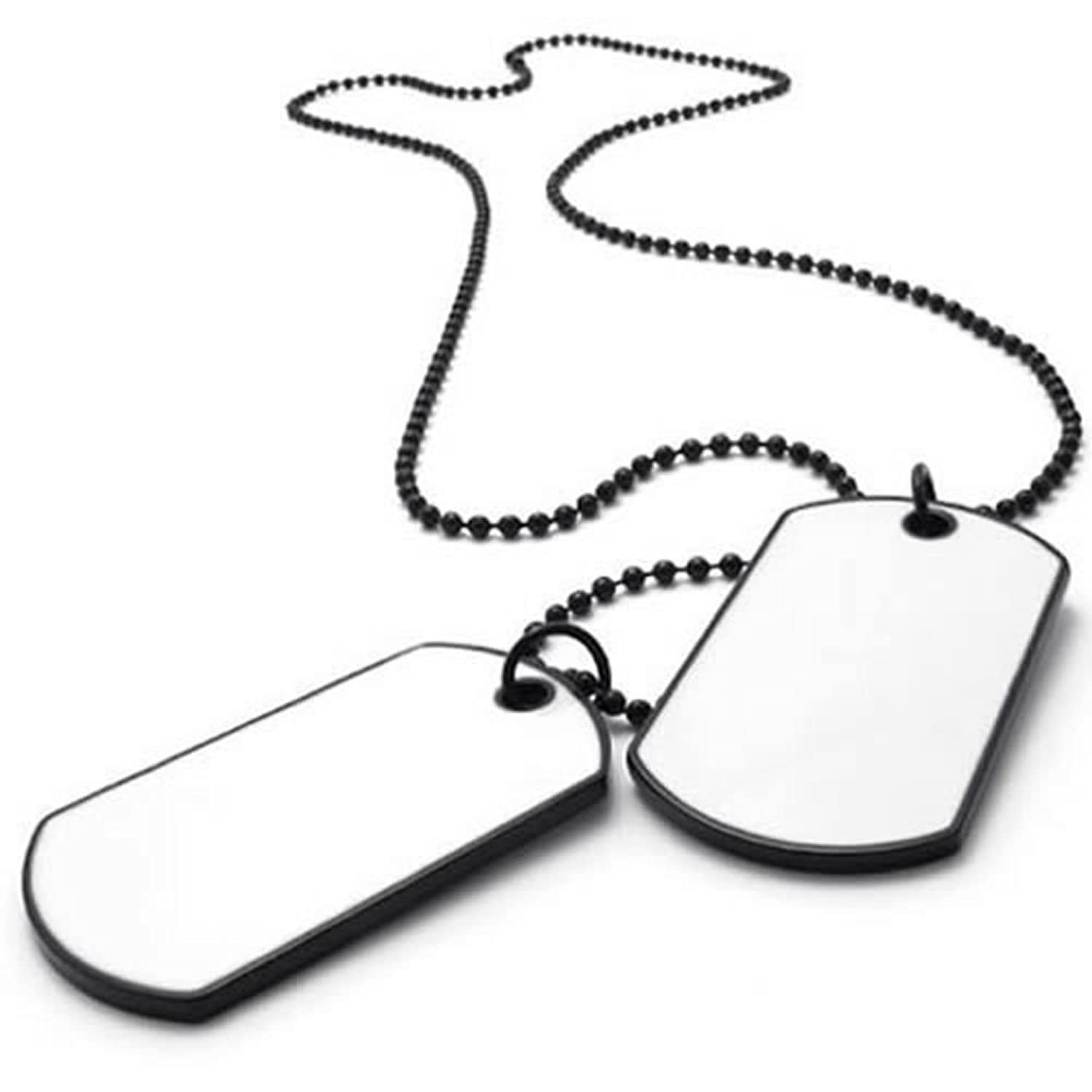 konov army style 2pcs dog tag pendant mens necklace chain white