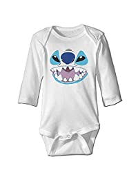 Lilo And Stitch Stitch Face Baby Long Sleeve Bodysuits