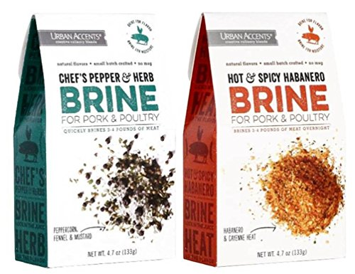 Urban Accents Pork & Poultry Brine Mix 2 Flavor Variety Bundle: (1) Urban Accents Chef's Pepper & Herb Brine Mix, and (1) Urban Accents Hot & Spicy Habanero Brine Mix, 4.7 Oz. Ea. (2 Total) (Habanero Rub)