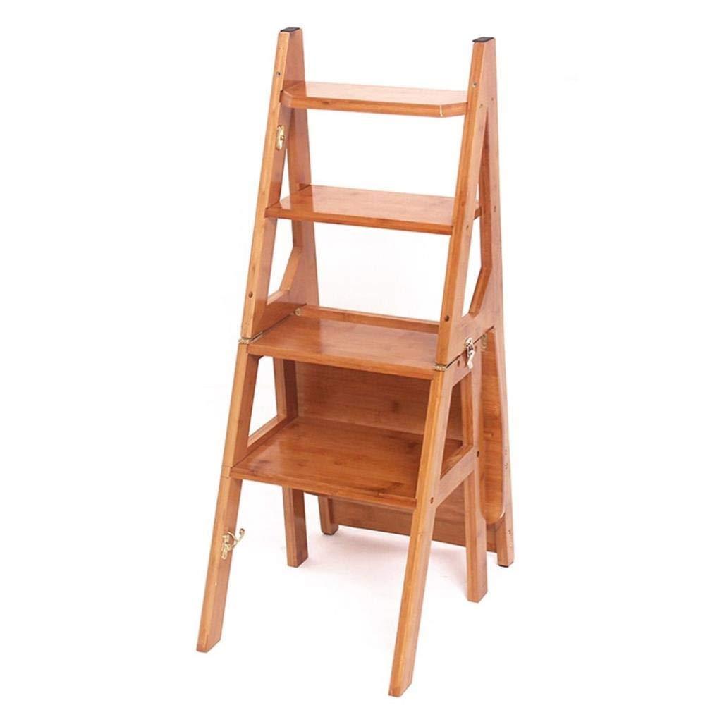 ステップスツール多機能家庭用折りたたみ梯子四段梯子椅子厚い竹ステップスツールステップスツール35×44×81センチ (Color : Log Color) B07STYVN7V Log Color