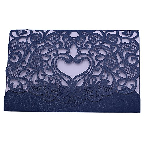 Invitation Cards with Envelopes Laser Cut Flora Lace for wedding invitations, Bridal Shower, Engagement, Birthday, Bachelorette Party, Baby Shower(10 PCS) (10 piece, Navy Blue-Heart)