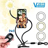 Selfie Light Ring, [2019 Version] Ring Light with Cell Phone Holder Stand for Live Stream/Makeup, Flowmist LED Ring Light [3-Light Mode] [10-Level Brightness] with Flexible Arms, for iPhone/Android