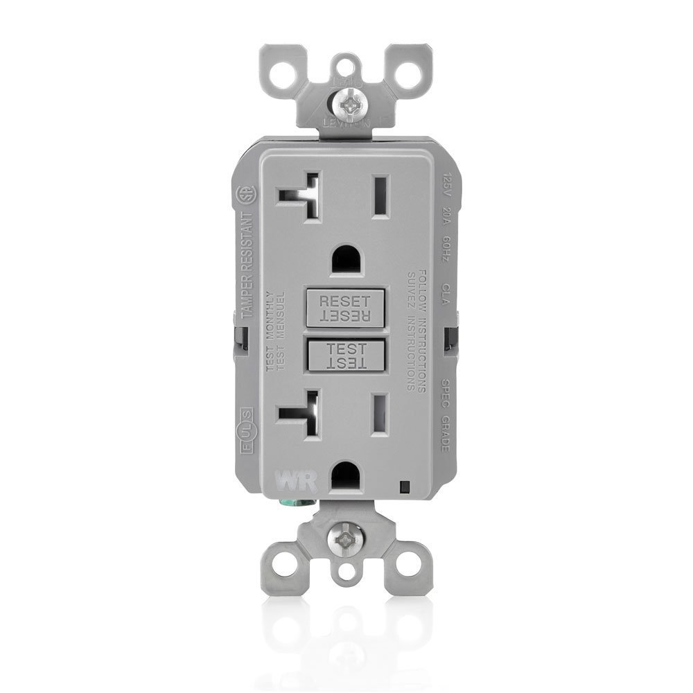 Leviton GFWT2-GY Self-Test Smartlockpro Slim GFCI Weather-Resistant & Tamper-Resistant Receptacle with LED Indicator, 20 Amp, 10 Pack, Gray