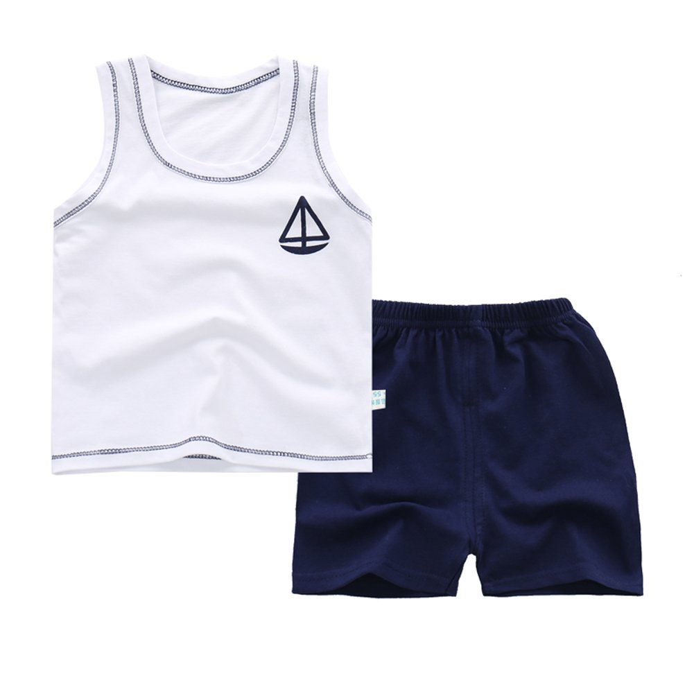 Difly Cildren Boys Vest Stripes Animal Shorts Summer Comfortable Breathable Cotton Clothing Beach 2 iece Sets