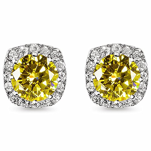18K White Gold Plated Round-Cut CZ Sterling Silver 10mm Cushion Diamond Engagement Stud Earrings Yellow