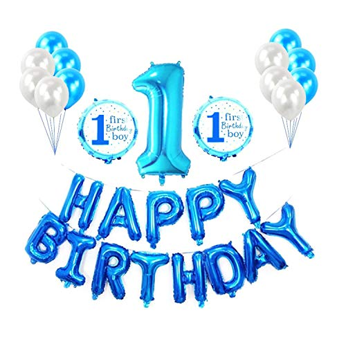 1st Birthday Boy Decorations,First Birthday Decorations Boy,First Boy Blue Birthday Party Decorations Happy Birthday Balloons Banner, Number1 Foil Balloon, Blue Latex Balloons -