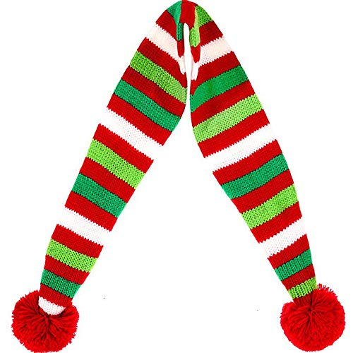 StyleZ Christmas Pet Knit Scarf Red-White-Green Striped Scarf with Red Pompom Ball Winter Neck Warme - http://coolthings.us