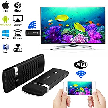 HDMI WIFI Display Dongle,Costech [Update Version] 2.4G WiFi Wireless 1080P Hdmi Streaming Media Dongle Miracast Device For iPhone/iPad/Mac Book, Android/OS/iOS/Mac OS/Windows Devices (Black)