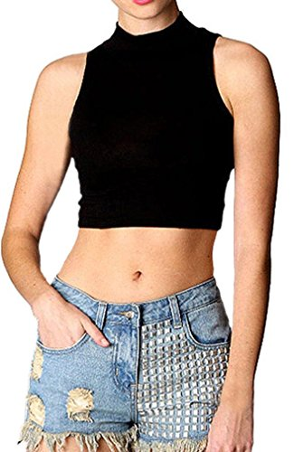 Spandex Mock Turtleneck - LIREROJE Womens Cotton Sleeveless Mock Turtleneck Stretchy Crop Tops Black L