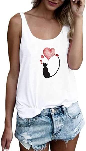 Luckycat Camisetas Tirantes Mujer Basicas Color SóLido Top Sin Mangas con Cuello Redondo Mujer Ocio Y Confort Camisetas Deporte Mujer Simple Camisetas Mujer Manga Corta Originales Estampado de Flores: Amazon.es: Ropa y