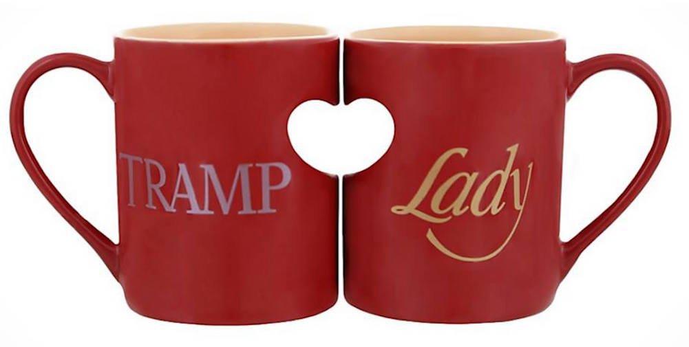 Disney Parks Lady and the Tramp Romantic Heart Ceramic Mug Set of 2 Love