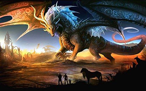 Fantasy Dragon Edible Icing Image Cake Topper 1/4 Sheet Image ()