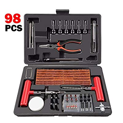 ORCISH 98Pcs Tire Repair Plug Kit Heavy Duty Flat Tire Repair Kit Universal Tire Repair Tools & Tire Repair Set for Car Motorcycle Truck RV Jeep ATV Tractor Trailer Tire Patch Kits Puncture Repair Kit: Automotive