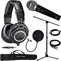 Audio-Technica ATH-M50X Professional Studio Headphones (Black) & Technical Pro Microphone Bundle includes Headphones, Microphone, Stand, Holder, XLR Cables, Case and Wind Screen