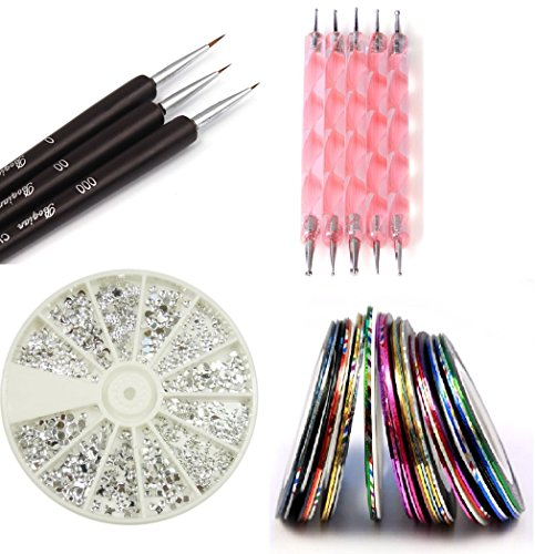 Claire's Nail Kit includes 30 Striping tape & 12 Silver Rhinestones & Dotting Pen set & Brush Set (Full Set)