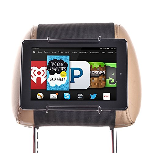 Price comparison product image Hikig Car Headrest Mount Holder for all Kindle Fire - Kindle Fire HD 6 / HD 7 / HD X7 / HD X9 / HD 6 (2014) / HD 7 (2014) / HD 6 (Kid Edition) / HD 7 (Kid Edition) / New Fire 7 (2015) / HD 8 / HD 10