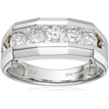 Men's 14k White and Yellow Gold Polished Finish Split Shank Diamond Ring (1 cttw, H-I Color, I1-I2 Clarity)