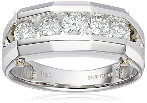Men's 14k White and Yellow Gold Polished Finish Split Shank Diamond Ring (1 cttw, H-I Color, I1-I2 Clarity), Size 10