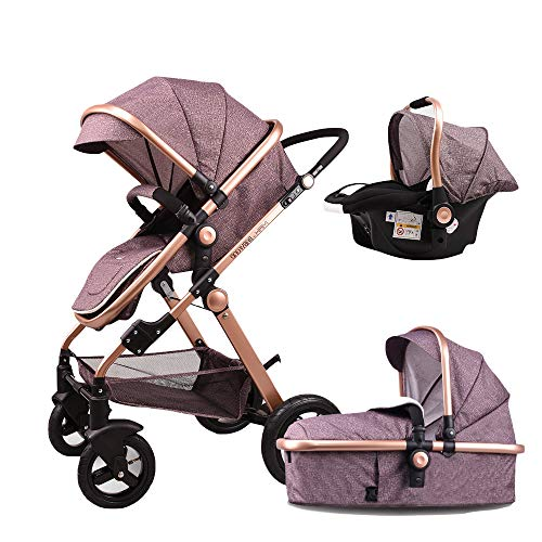 Baby Stroller,Babyfond-T900 3in1 Folding Baby Carriage Travel System Pram Shockproof Pushchair with Lightweight Sleeping Basket,Joggers Pram for Newborn (Khaki)