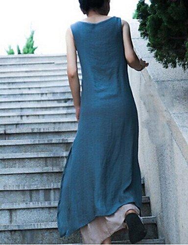 PU&PU Robe Aux femmes Ample Vintage / Décontracté , Couleur Pleine Col Arrondi Maxi Coton / Lin , blue-l , blue-l