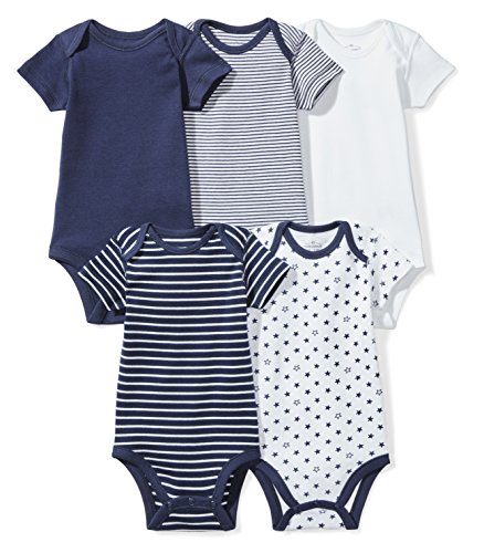 (Moon and Back Baby Set of 5 Organic Short-Sleeve Bodysuits, Navy Sea, Preemie)