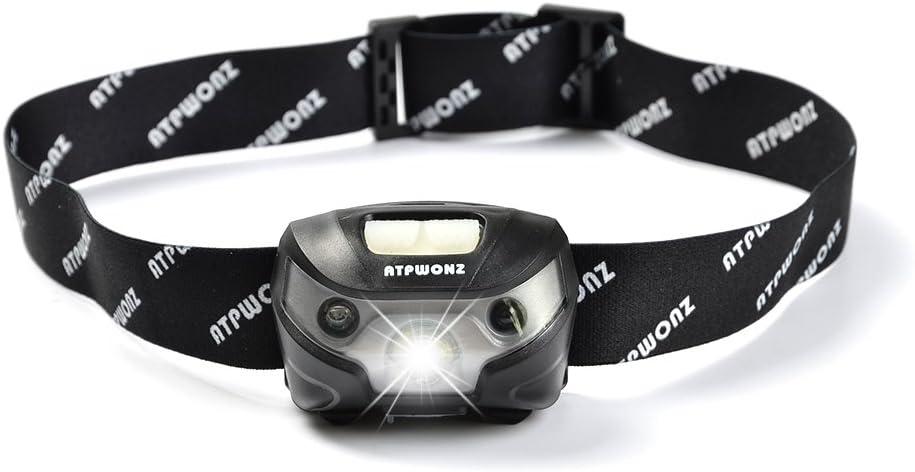 3 modes de niveau avec capteur de mouvement rechargeable USB Id/éal pour Camping//Cyclisme//Patrouille//Sp/él/éologie etc ATPWONZ Lampe frontale imperm/éable /à leau LED Head