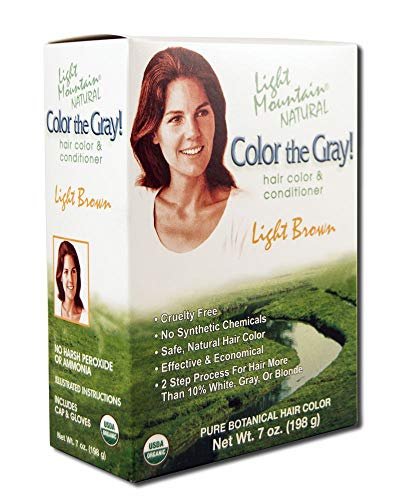 Light Mountain Natural Color The Gray! Hair Color & Conditioner, Light Brown, 7 oz (Pack of 2)