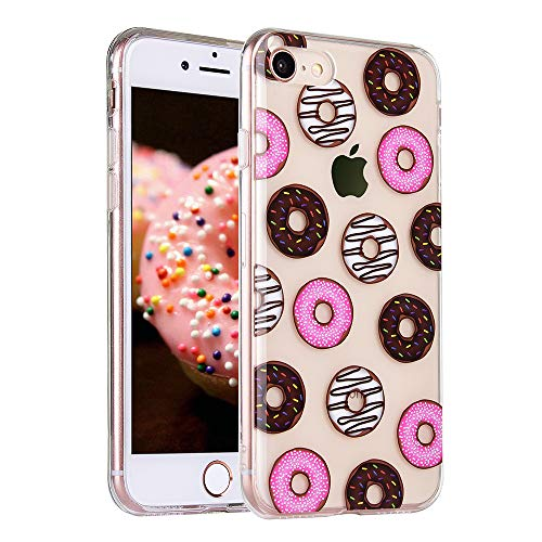 COSANO for iPhone 8 case, iPhone 7 case, Clear for Girls Donut Sweet Dessert Design Slim Fit [Hard PC Back + Shock Absorbing Soft Bumper] Ultra Thin Transparent Colorful Protective Cover (Dount 8) (7 Dessert)