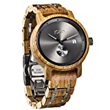 JORD Wooden Wrist Watches for Men - Hyde Series/Wood Watch Band/Wood Bezel/Analog Quartz Movement - Includes Wood Watch Box (Kosso & Gray)