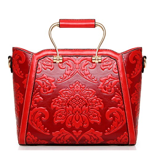 red Handbag Floral Bag Style Girls Crossbody Pattern Bag Shoulder for Howoo PU Women Messenger Chinese Embossed A0wqnIZ8H